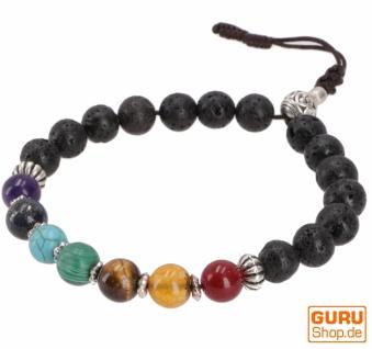 7 Chakran Mala Armband, Handmala mit Halbedelsteinen - Lava Buddha Armband
