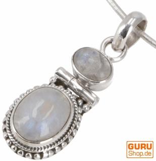 Indischer Boho Silber Anhänger, Kettenanhänger mit zwei Steinen - Mondstein