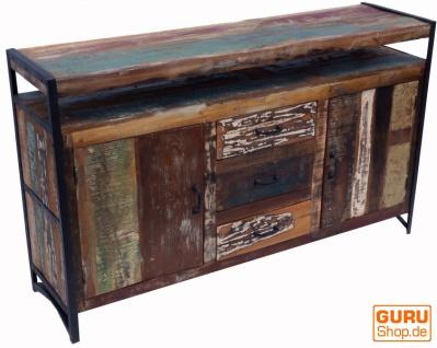 Kommode, Beistellschrank, Kommode, Fernsehschrank aus recyceltem Holz - Modell 7