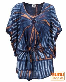 Batiktunika mit Gürtelband, Maxitunika, Strandkleid, Übergröße - blau/beige