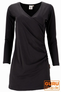 Minikleid aus Bio-Baumwolle in Wickeloptik mit langem Arm, Basic Kleid Organic - schwarz