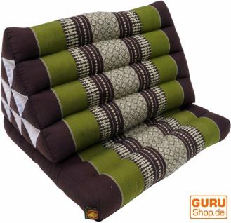 Thaikissen, Dreieckskissen, Kapok, Tagesbett mit 1 Auflage - braun/grün