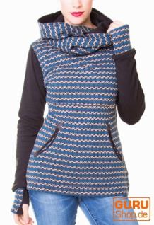Pullover aus Bio-Baumwolle mit Kapuze / Chapati Design - petrol sporty