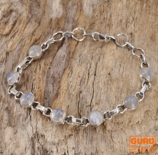 Indisches Boho Silber Armband - Mondstein