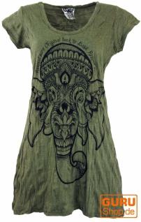Sure Long Shirt, Minikleid Ganesha - olive