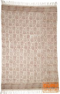 Handgewebter Blockdruck Teppich aus natur Baumwolle mit traditionellem Design - Muster 13