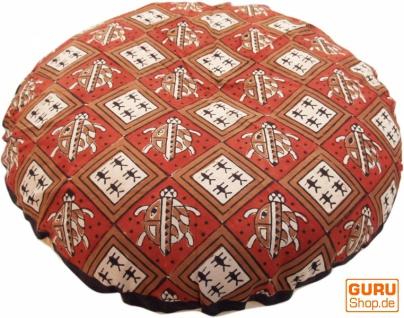 Runde Kissenbezug Blockdruck, Kissenhülle Ethno, Dekokissen Bezug mit traditionellem Design - Schildkröte rot