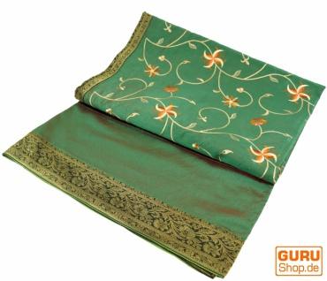 Brokat- Samtdecke, Tagesdecke, Bettüberwurf - Blümchen/grün
