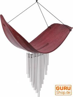 Aluminium Klangspiel, exotisches Windspiel - Palmenblatt rot