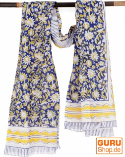 Leichter Pareo, Sarong, handbedrucktes Baumwolltuch - blau Kombination 6