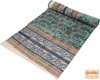 Blockdruck Tagesdecke, Bett & Sofaüberwurf, handgearbeiteter Wandbehang, Wandtuch - türkis/blau