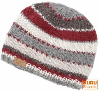 Beanie Mütze, gestreifte Strickmütze aus Nepal - grau/rot