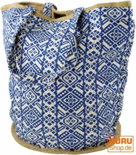 Handgefertigte Boho Shopper Tragetasche, Strandtasche, Einkaufstasche - blau