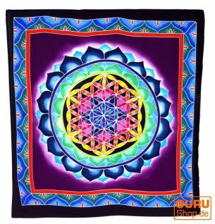 Wandbehang, Wandtuch, Wandbild, Batiktuch - Blume des Lebens blau/lila