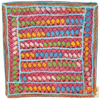 Patchwork Kissenhülle, Dekokissen Bezug aus Rajasthan, Einzelstück - Muster 40