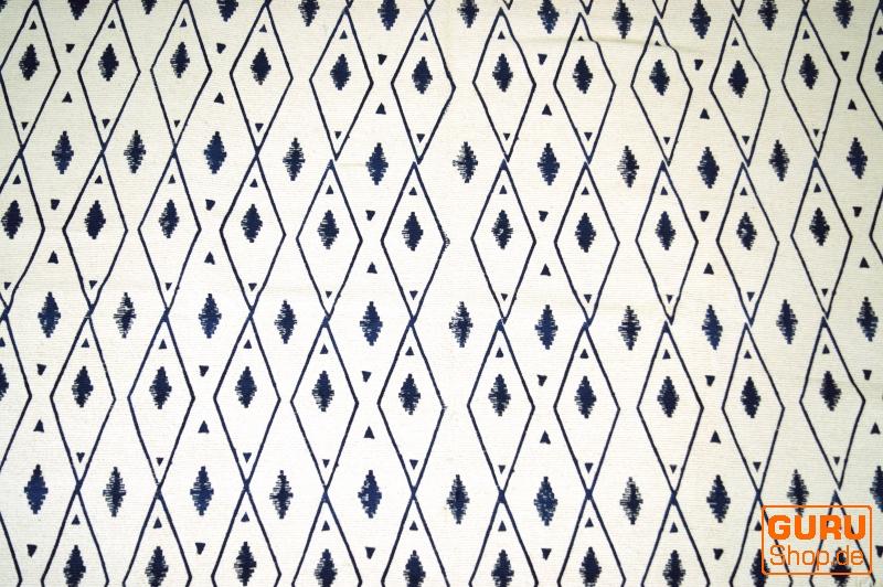 Hangewebter Blockdruck Teppich Aus Natur Baumwolle Mit