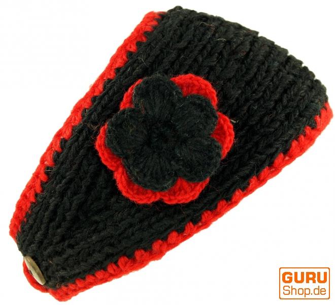 Woll Strick Stirnband mit Blume schwarz