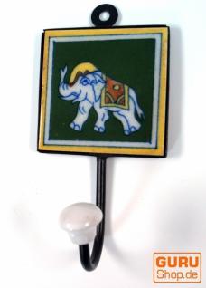 Wandhaken, Garderobenhaken mit handgefertigter Fliese (8*8 cm) - Modell 11