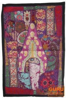 Indischer Wandteppich Patchwork Wandbehang/Tischläufer Einzelstück 90*65 cm - Muster 21