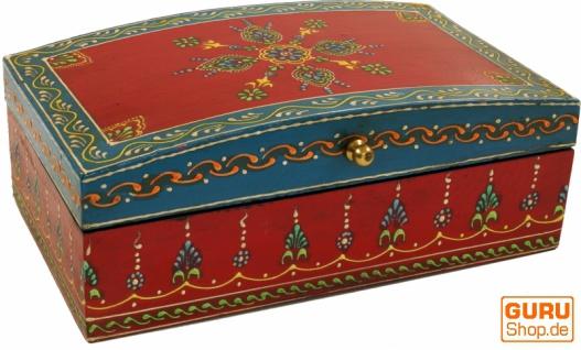 Handbemalte Holzdose, Schmuckschachtel mit zwei Fächern