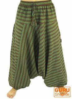 Haremshose, Pluderhose, Pumphose, Aladinhose aus Baumwolle - grün