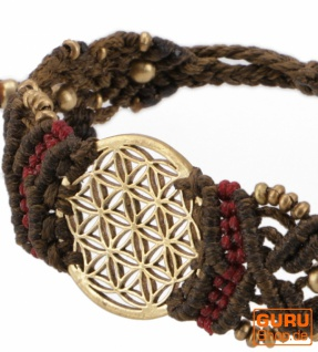 Goa Armband, Makramee, Festival Armband - Blume des Lebens/braun Modell 17 - Vorschau 2
