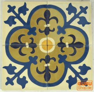 Zementfliesen Set, Ornament aus 4 Fliesen, weiß - Design 4