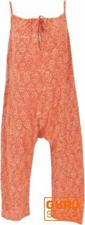 Sommerliche Latzhose, Ethno Style Boho oversize Einteiler, Overall - orange