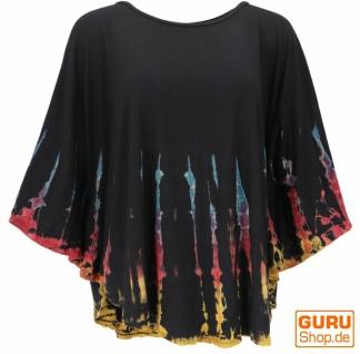 Batik Poncho, Tunika, Boho Kaftan, Maxibluse - schwarz