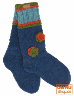 Handgestrickte Schafwollsocken mit Blümchen, Haussocken, Nepal Socken - petrol