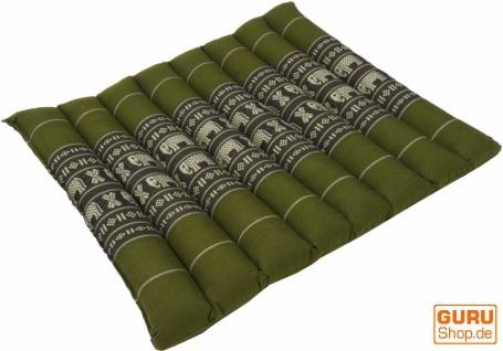 Thai Stuhlkissen, Bodenkissen, Sitzunterlage aus Kapok, 35*40 cm - grün - Vorschau 1