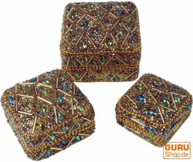Indisches Schmuckdöschen, Perlendöschen, Schmuckschachtel 3er Set in 5 Farben