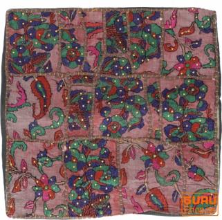 Patchwork Kissenhülle, Dekokissen Bezug aus Rajasthan, Einzelstück - Muster 56