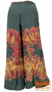 Batik Palazzohose, offene Sommerhose - dunkelgrün