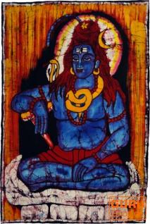 Handgemaltes Batikbild, Wandbehang, Wandbild - Shiva 87*67 cm