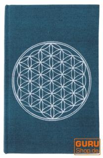 Notizbuch, Tagebuch - Blume des Lebens petrol