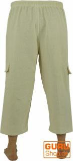 3/4 Yogahose, Shorts, Cargo Hose, Goa Hose - naturweiß - Vorschau 3