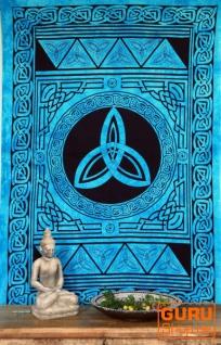 Indisches Wandtuch, Batik Tagesdecke - Keltischer Knoten / türkis