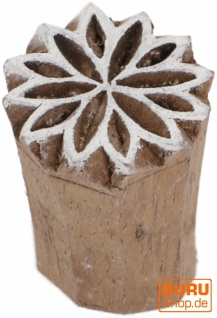 Indischer Textilstempel, Holz Stoffdruckstempel, Blaudruck Stempel, Druck Modell - Ø 2, 5 cm Sternblüte 1