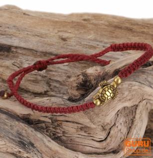Ethno Schildkröten Perlenarmband, Makramee Armband - dunkelrot