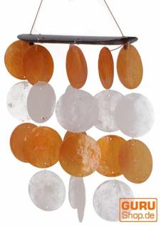 Langes Muschel Windspiel, Klangspiel - orange weiß