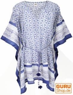 Hippie Poncho, Kaftan, Tunika, Poncho Bluse, Strandkleid - weiß/blau