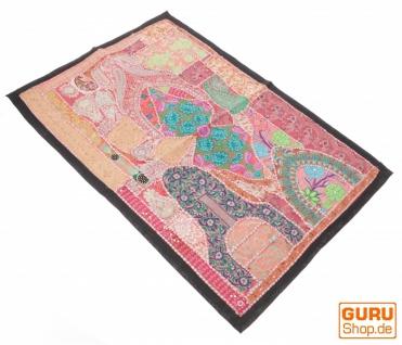 Indischer Wandteppich Patchwork Wandbehang/Tischläufer Einzelstück 90*65 cm - Muster 8