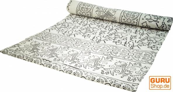 Blockdruck Tagesdecke, Bett & Sofaüberwurf, handgearbeiteter Wandbehang, Wandtuch - weiß Muster