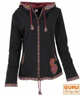 Nepal Ethno Jacke, bestickte Jacke - schwarz/rot