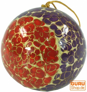 Upcycling Weihnachtskugel aus Pappmachee, Handbemalter Christbaumschmuck, Kaschmirkugeln - Muster 1 - Vorschau