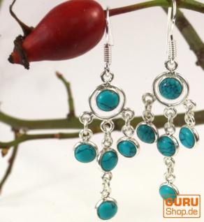 Indische Silberohrringe im Bollywood Style, Boho Ohrringe - Türkis