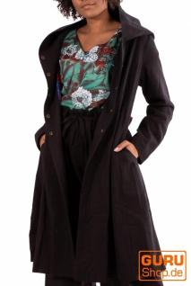 Kurzmantel mit Kapuze/Shortcoat aus Bio-Baumwolle / Chapati Design - black
