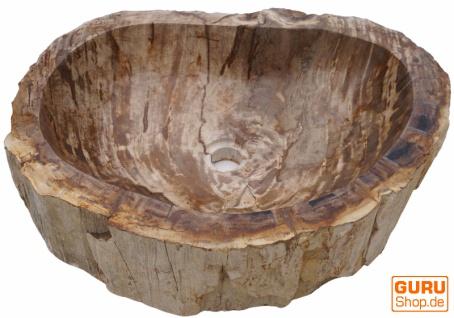 Massives Fossiles Holz Aufsatz-Waschbecken, Waschschale, Naturstein Handwaschbecken - Modell 3