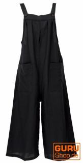 Sommerliche Latzhose, Ethno Style Boho oversize Einteiler, Overall - schwarz